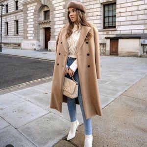 Zara Faux Fur Double Breasted Coat